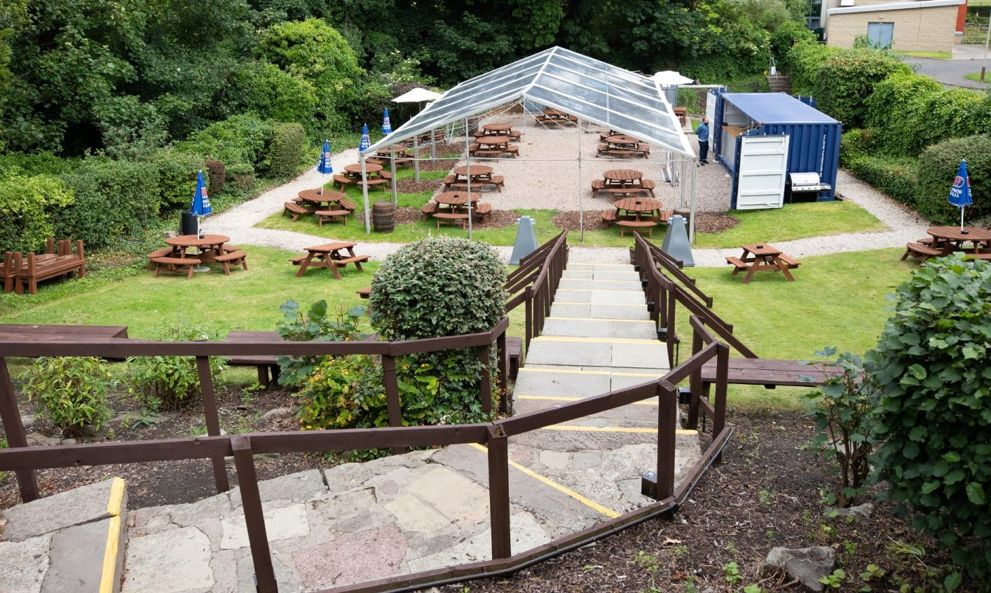 The beer garden at the Kilted Kangaroo, Dundee.