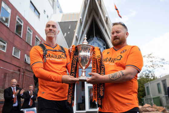 United fans Paul McNicoll and Andy Crichton reach their destination