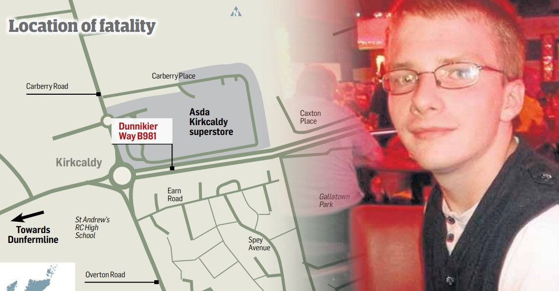 Delivery driver William Gall's headlights were not working when he struck and killed Thomas Beall near the Kirkcaldy Asda store.