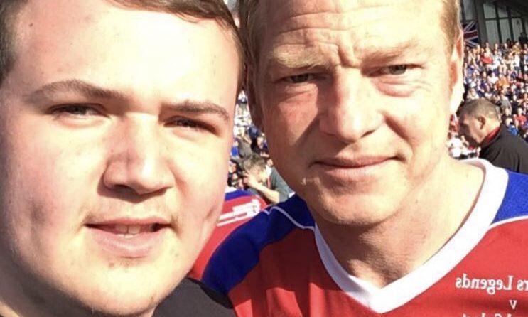 Lewis McEwan with Rangers legend Jorg Albertz