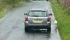 The footage shows the vehicle on the wrong side of the road in the Lochgelly area with the dog running dangerously close alongside (copyright: Chelle MacGregor).