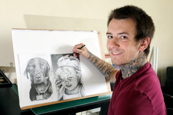 Unemployed St Andrews artist Marc Gorgon pictured in his studio.