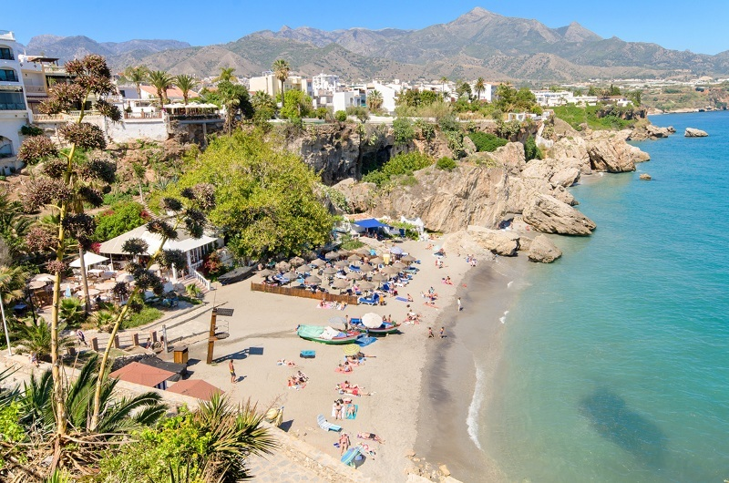 Nerja beach, Costa Del Sol: Scots travelling to resorts like this will have to quarantine when they come home.