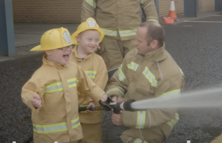 Ollie and Cameron became young firefighters as part of the film.