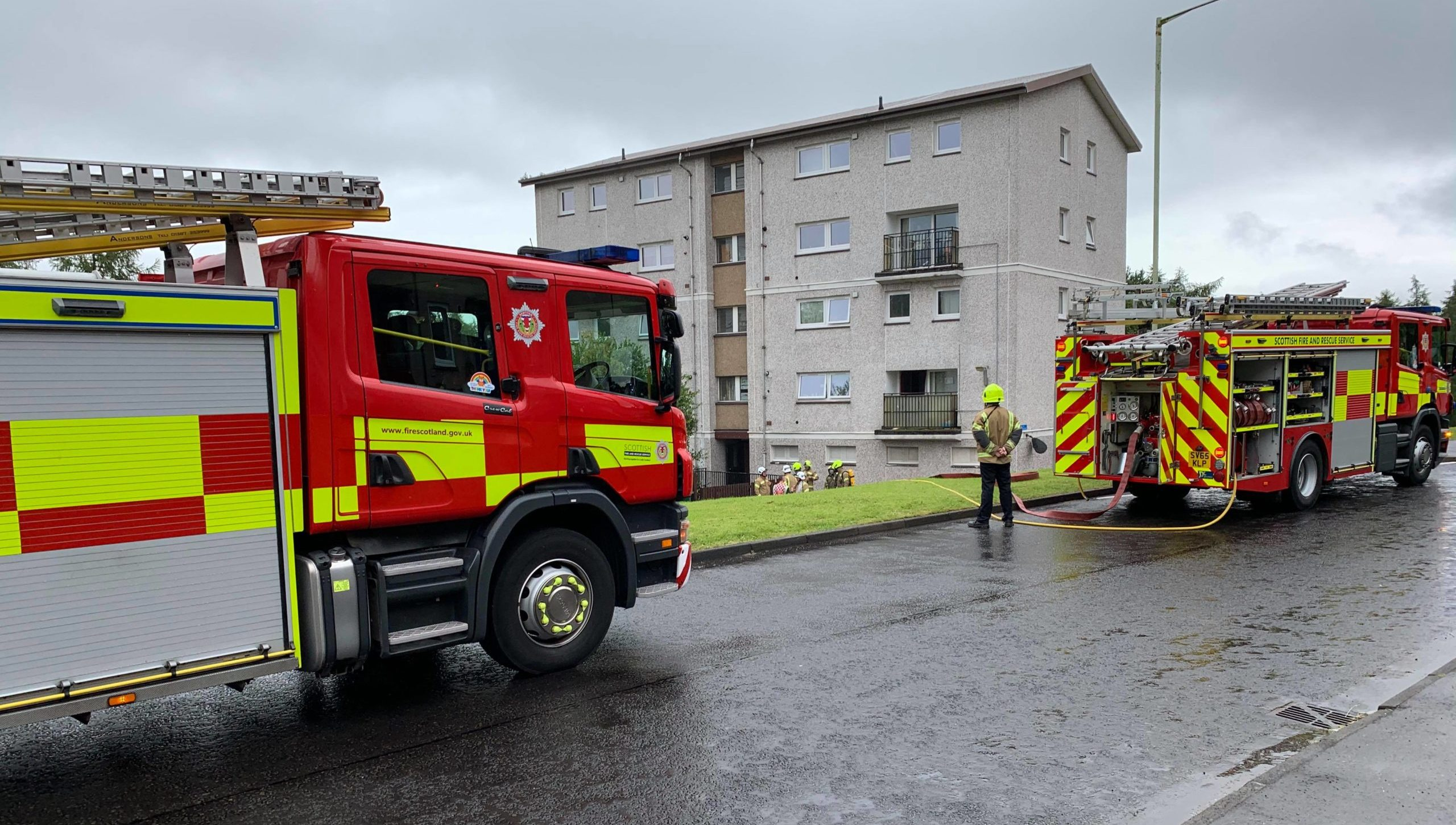 Fire fighters on Strathtay Road, Letham, Perth.