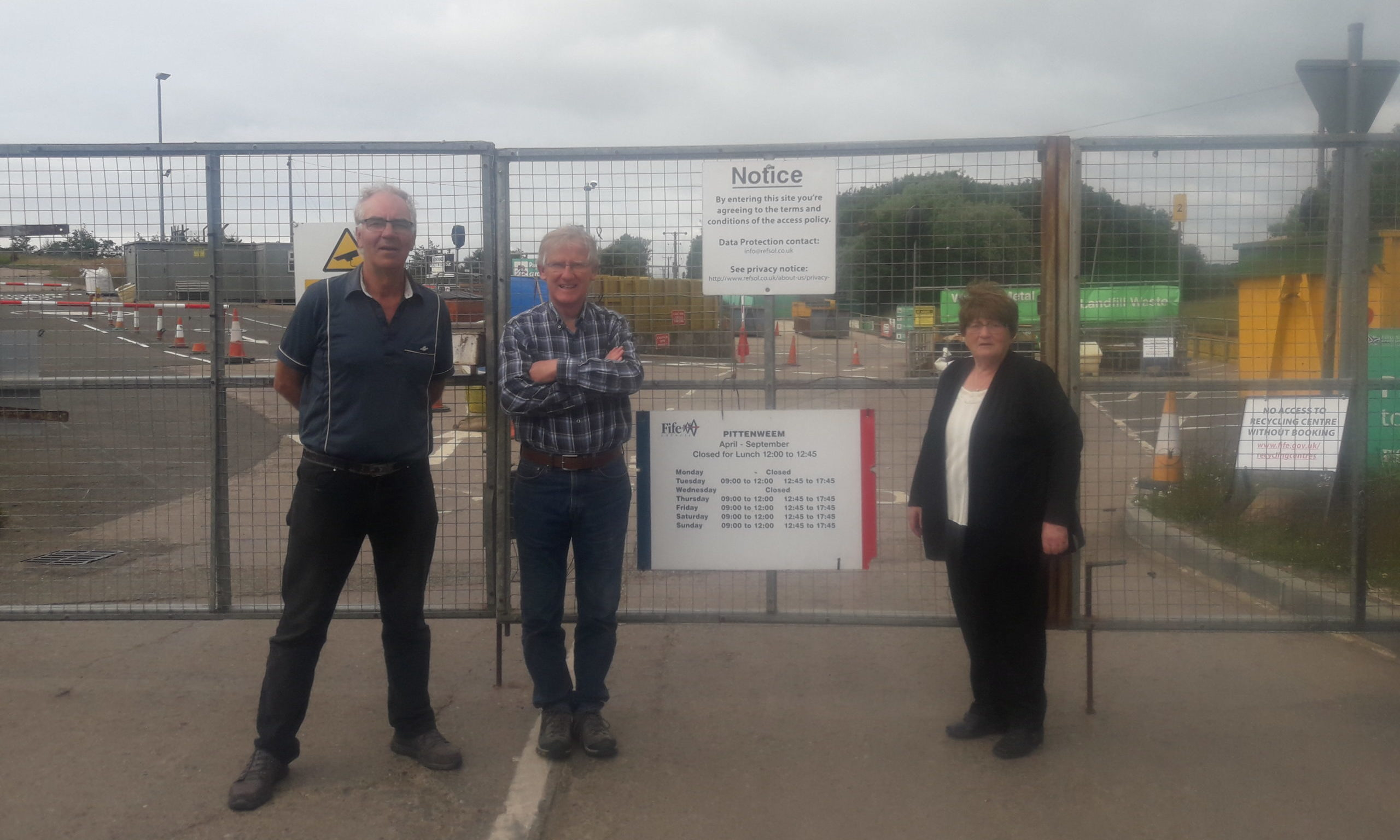 Andy Peddie, left, and Margaret Wardlaw with Peter Mills of Pittenweem Recycling Centre.