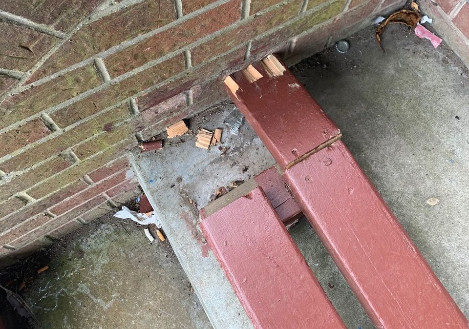 Damage done to the seating areas at Beveridge Park.