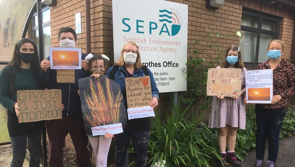 Campaigners outside SEPA's Glenrothes offices  as part of a Scotland wide protest.