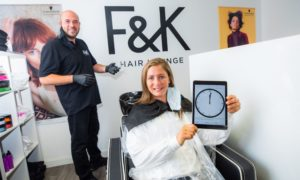 Courier News, Sean O'Neil Story, CR0022421  Coronavirus / COVID-19 / lockdown  -- Olympic medallist Eve Muirhead will be getting her haircut at 12.01am on the 15th July at F&K Hair Lounge in Perth by hairdresser Glen Fettes. Picture shows Glen Fettes (left) and Eve Muirhead (right). F&K Hair Lounge, 6 Auld Bond Road, Perth - Wednesday 15th July 2020  Pic Credit - Steve MacDougall / DCT Media