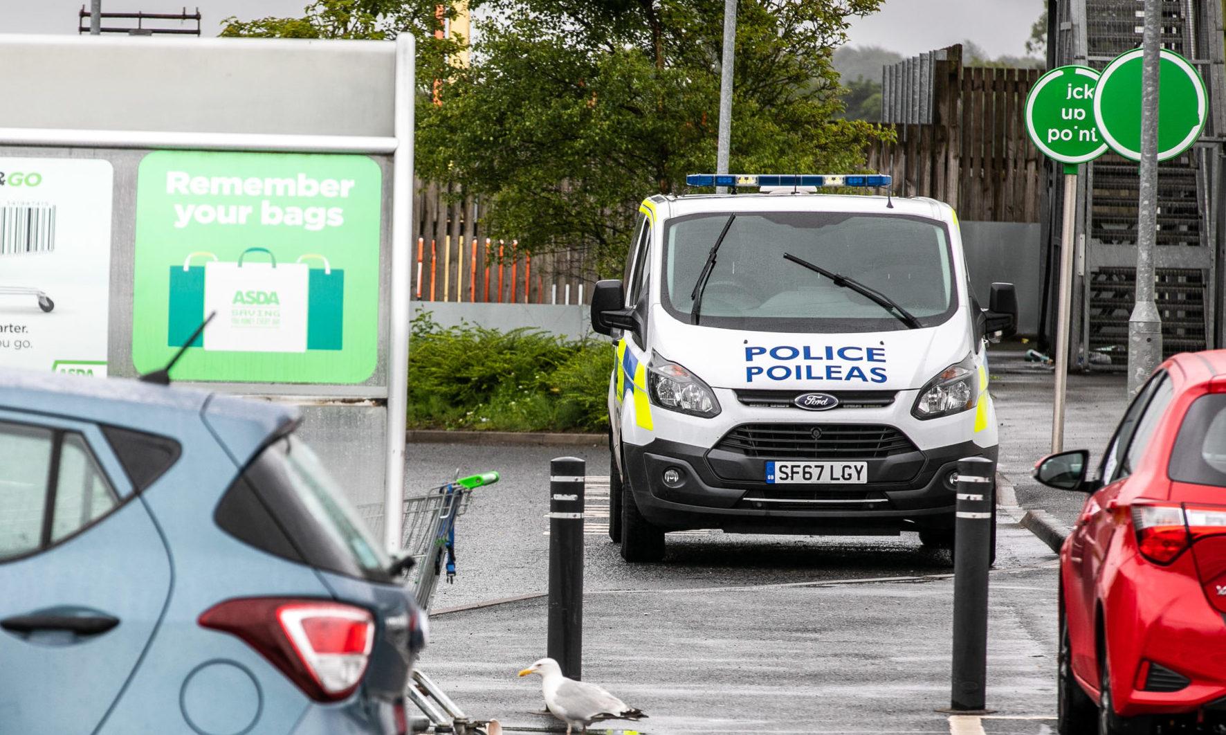 A police van outside the Glenrothes Asda on Thursday.