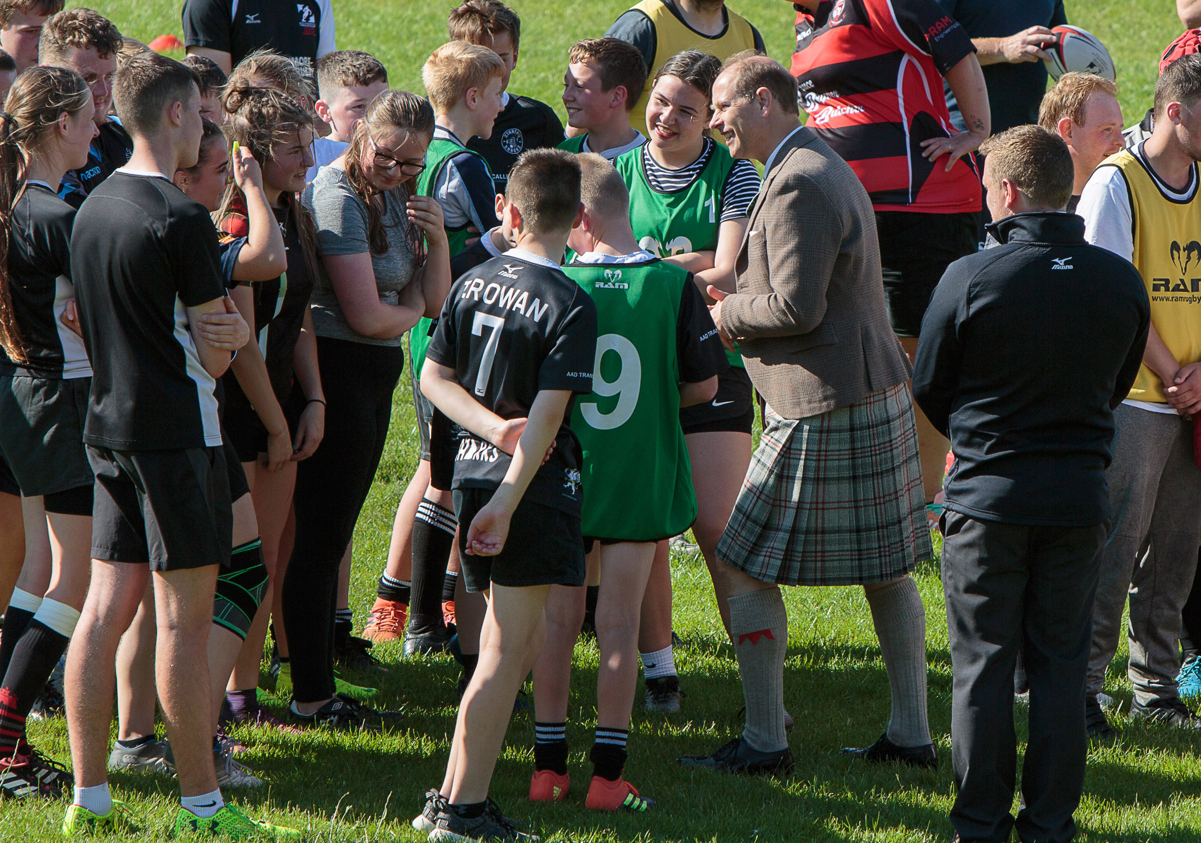 HRH The Earl of Forfar meets members of Strathmore Community Rugby Trust's Rugby Academy on his first visit to Forfar as earl in July 2019.