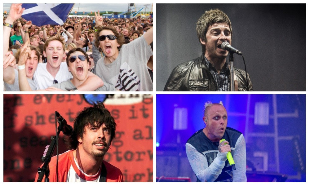 T in the Park first launched in 1994. From top left, clockwise: Fans enjoy the festival; Noel Gallagher in 2015; Keith Flint of The Prodigy in 2015; Dave Grohl of Foo Fighters in 2002.