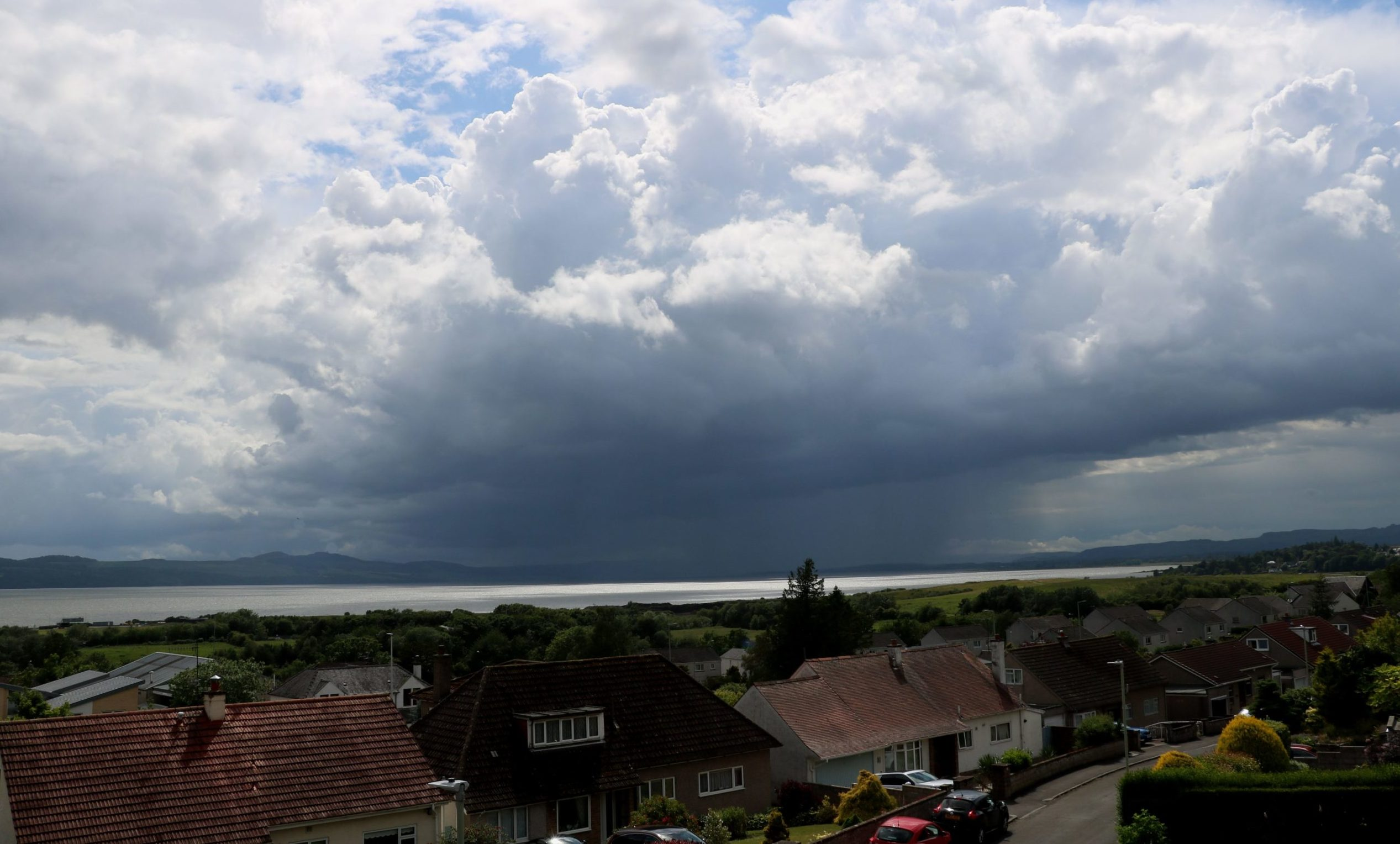 Thunderstorm heading up the Tay towards Dundee on June 21 2020.
