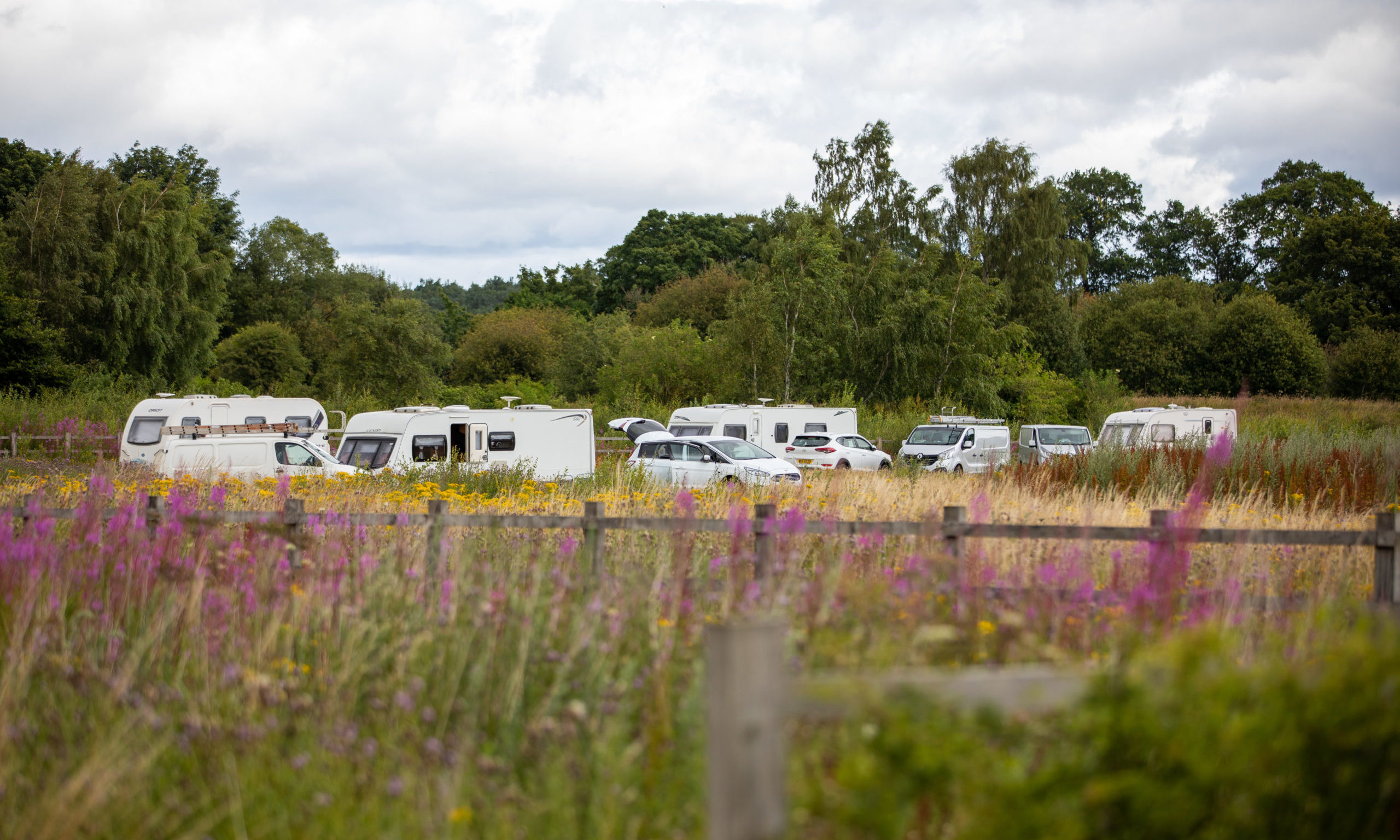Traveller caravans parked at the industrial estate at Arran Road in North Muirton in Perth