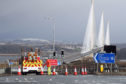 Diversions are put in place at The Queensferry Crossing after it was closed due to bad weather in February.