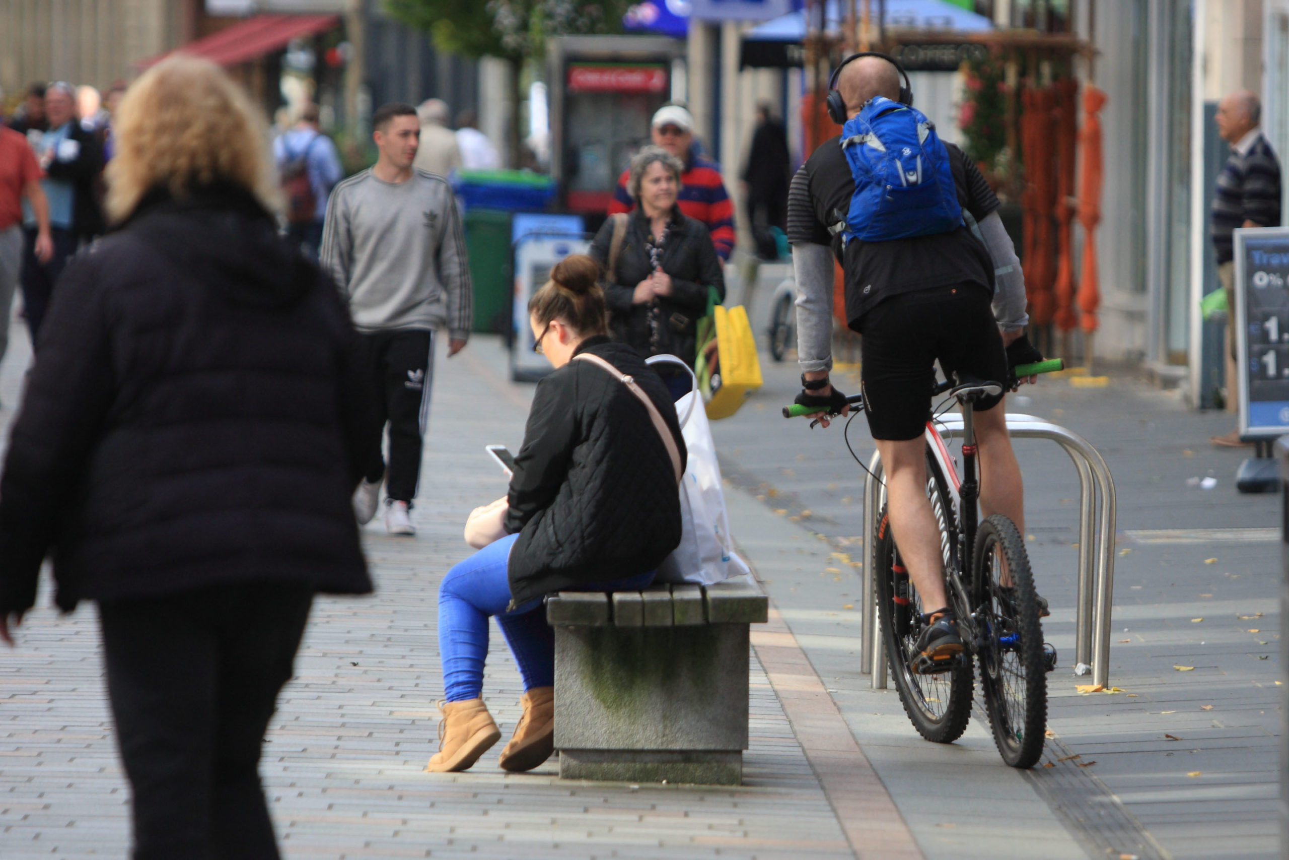 Cyclist in High St Perth at great speed narrowly missing pedestrians Pic Phil Hannah