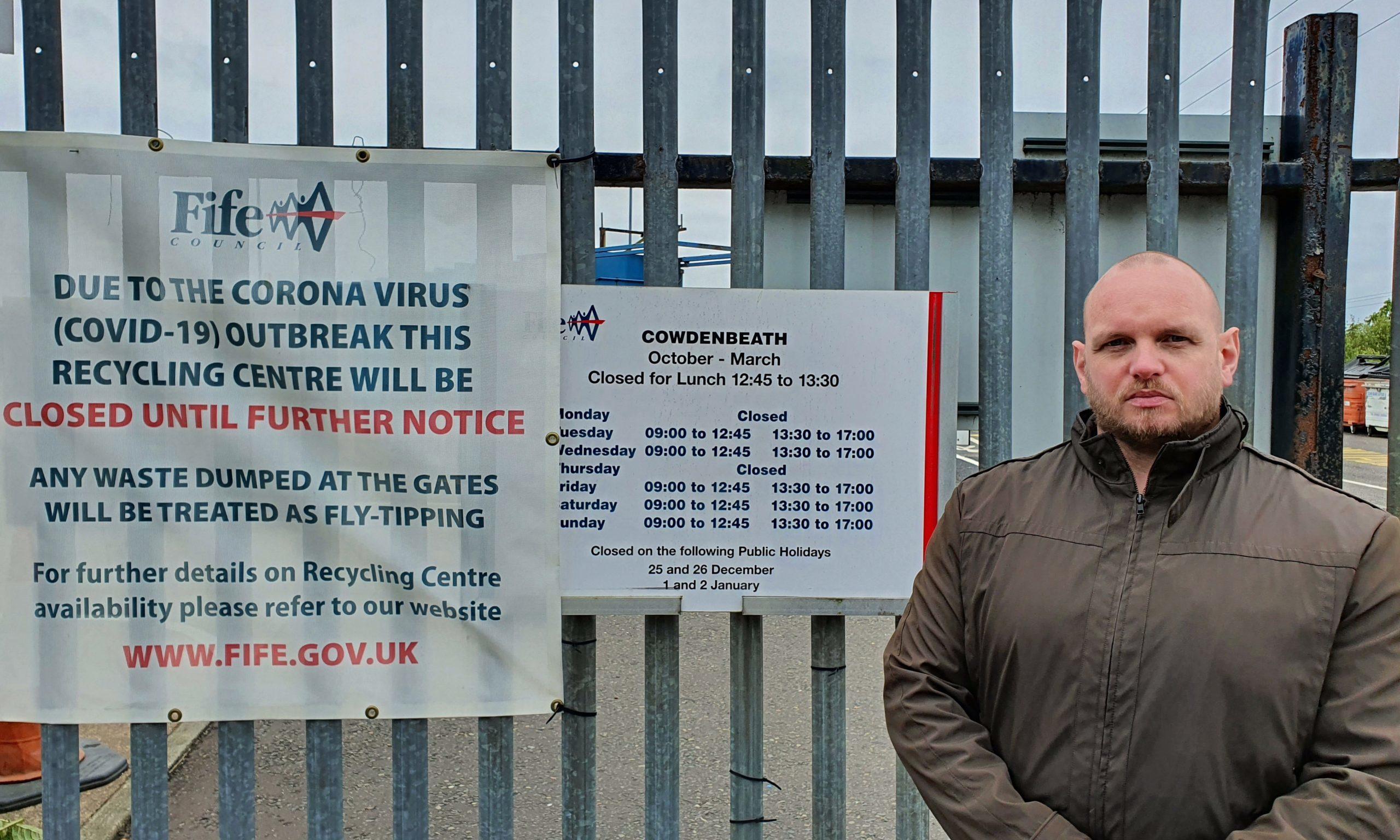 Local councillor Darren Watt outside Cowdenbeath recycling centre.
