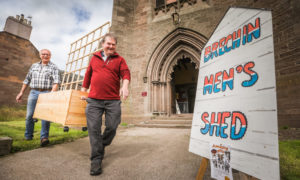 Brechin Men's Shed chairman Bill Pennycook and secretary Gordon Strachan at their base in the old town church.