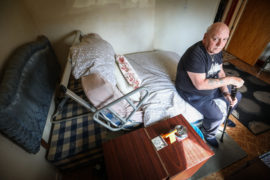 George Moses' bed has been stuck at an angle for six months
