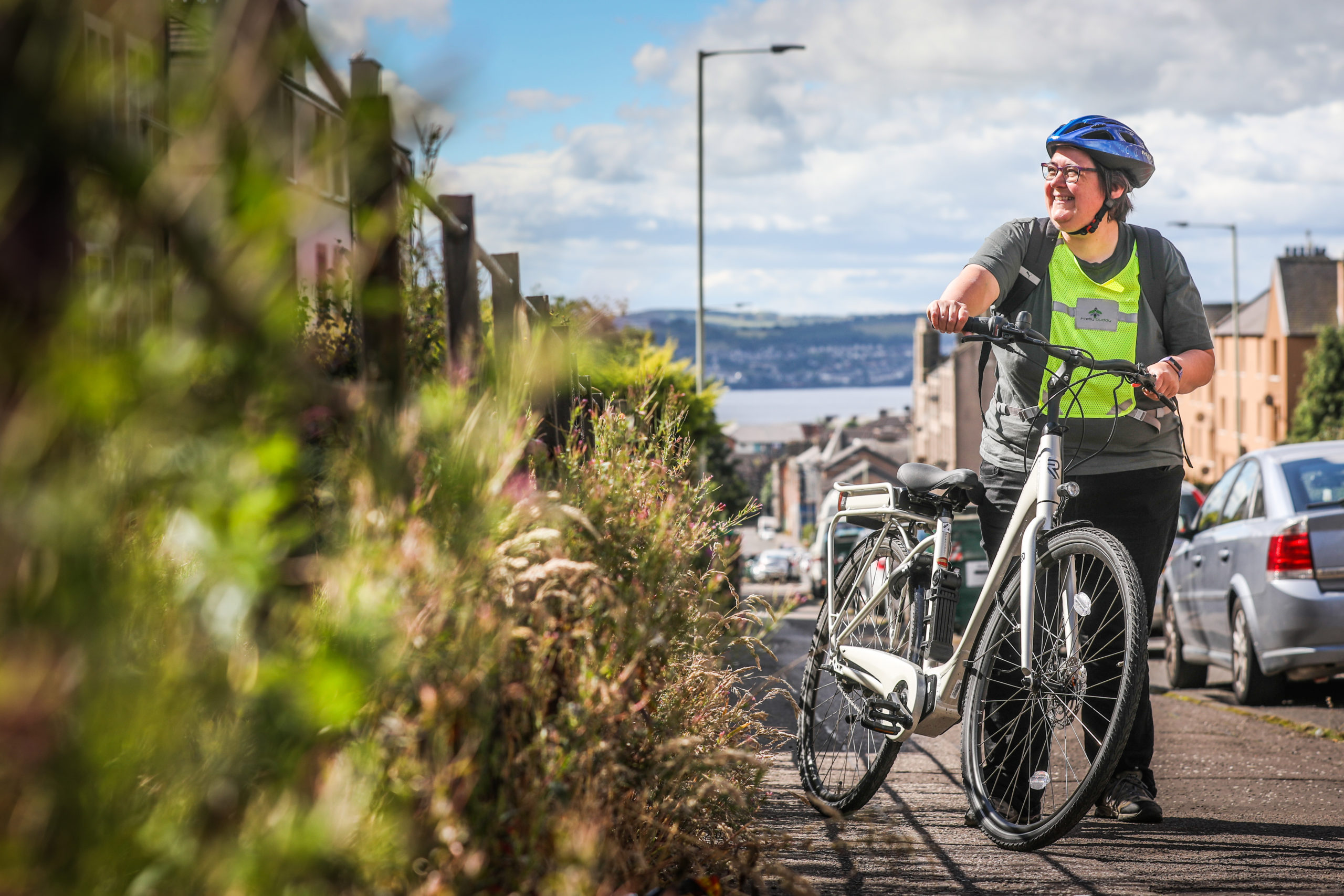 The Courier, CR0022205, Impact news, Jon Brady story. Case study cyclist Heather McKenzie and her eBike - Heather has started cycling for the first time during lockdown. Picture shows; Heather McKenzie and her e-bike. Monday 6th July, 2020. Mhairi Edwards/DCT Media