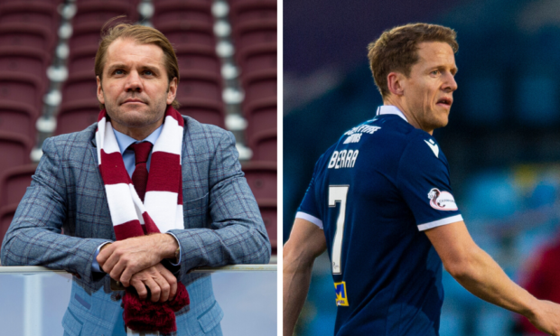 """Robbie Neilson (left) wants """"leaders"""", like Christophe Berra (right) at Hearts."""