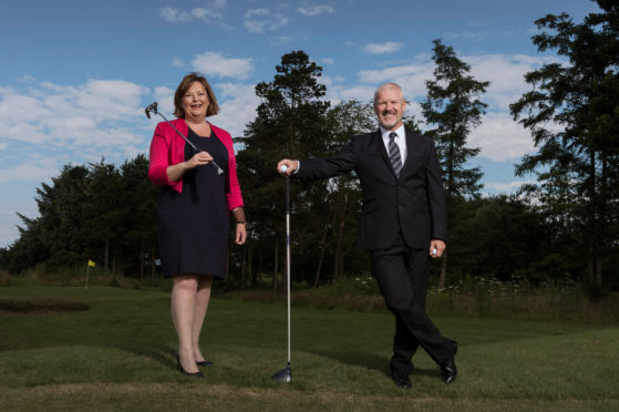 Tom Lovering with Fiona Hyslop MSP at the launch of Scottish Golf Tourism Week.