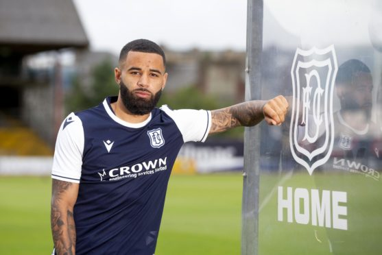 Striker Alex Jakubiak signed for Dundee on August 5. The tattoo of his grandfather Zigmund is on the inside of his right forearm. Credit: David Young.