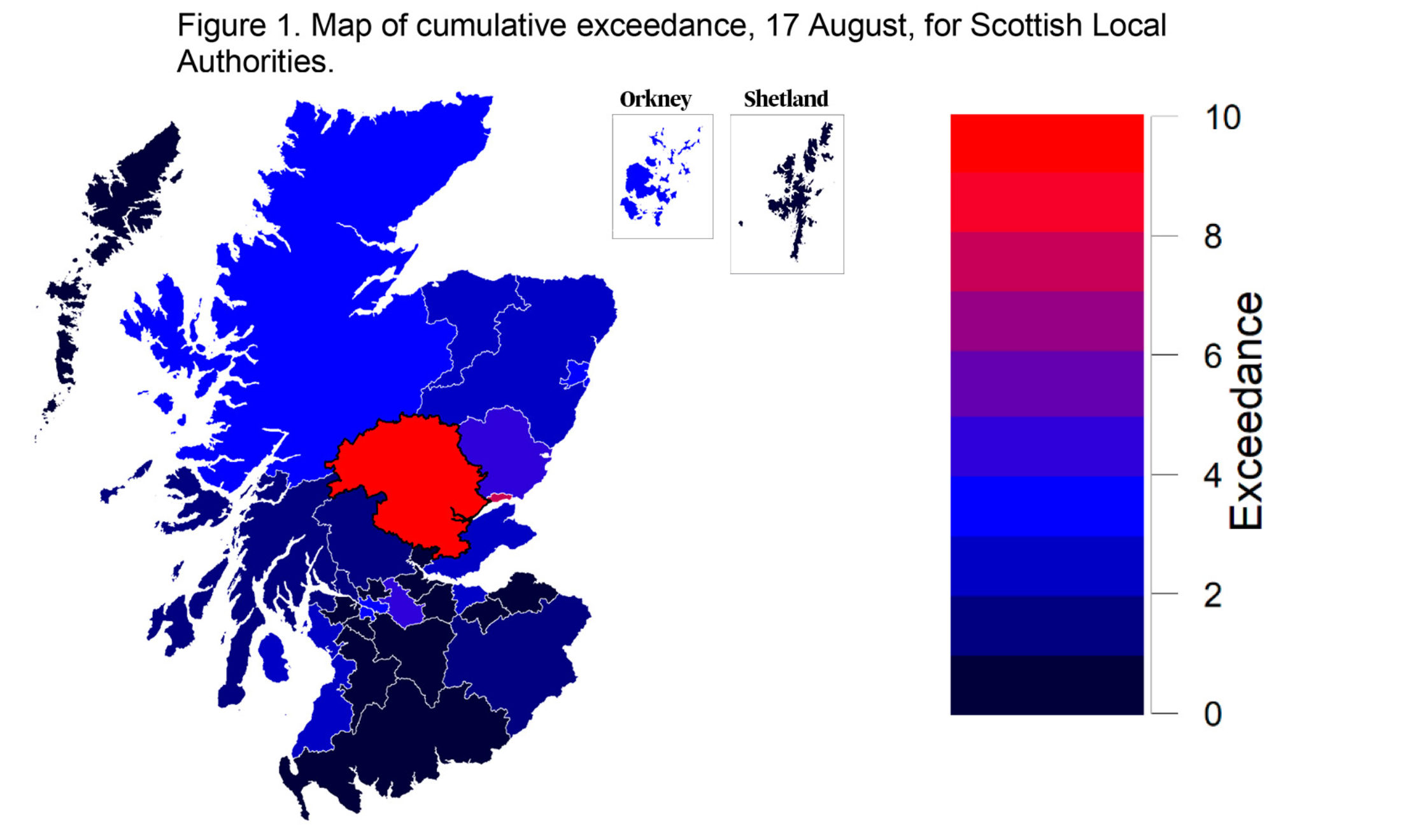 A graphic showing the scale of coronavirus transmission across Scotland.