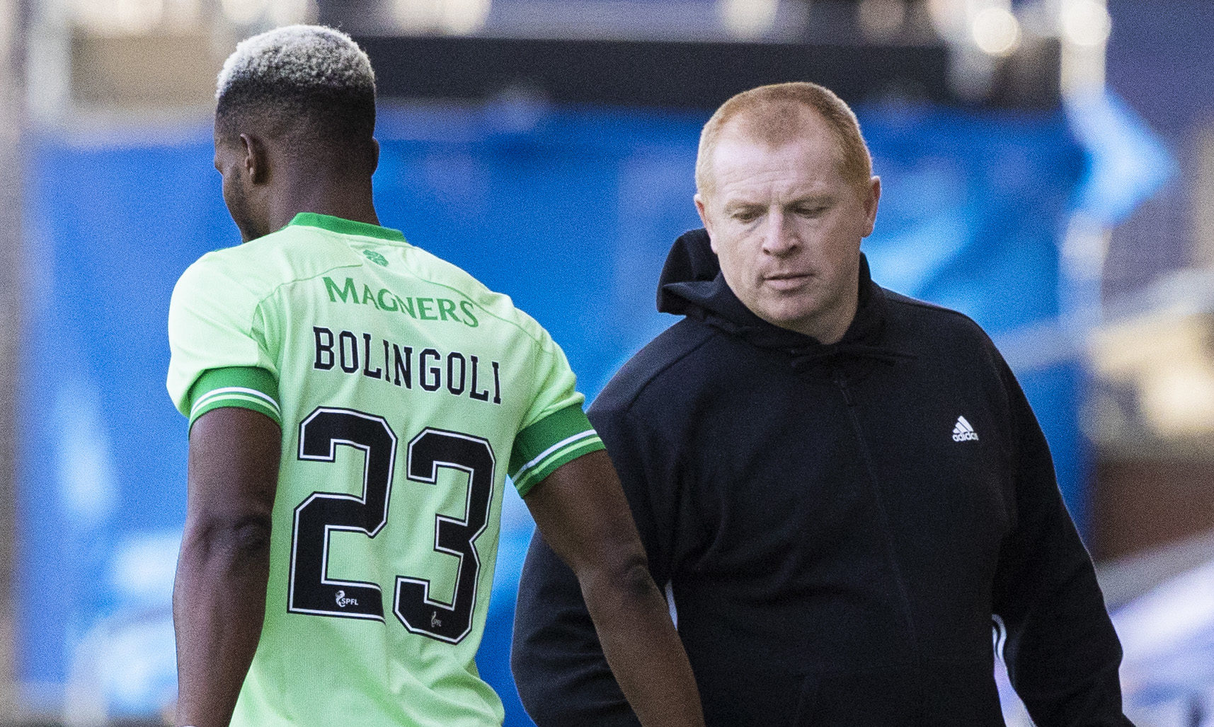 Celtic future of Boli Bolingoli - pictured with Neil Lennon - is in doubt after he broke quarantine rules.