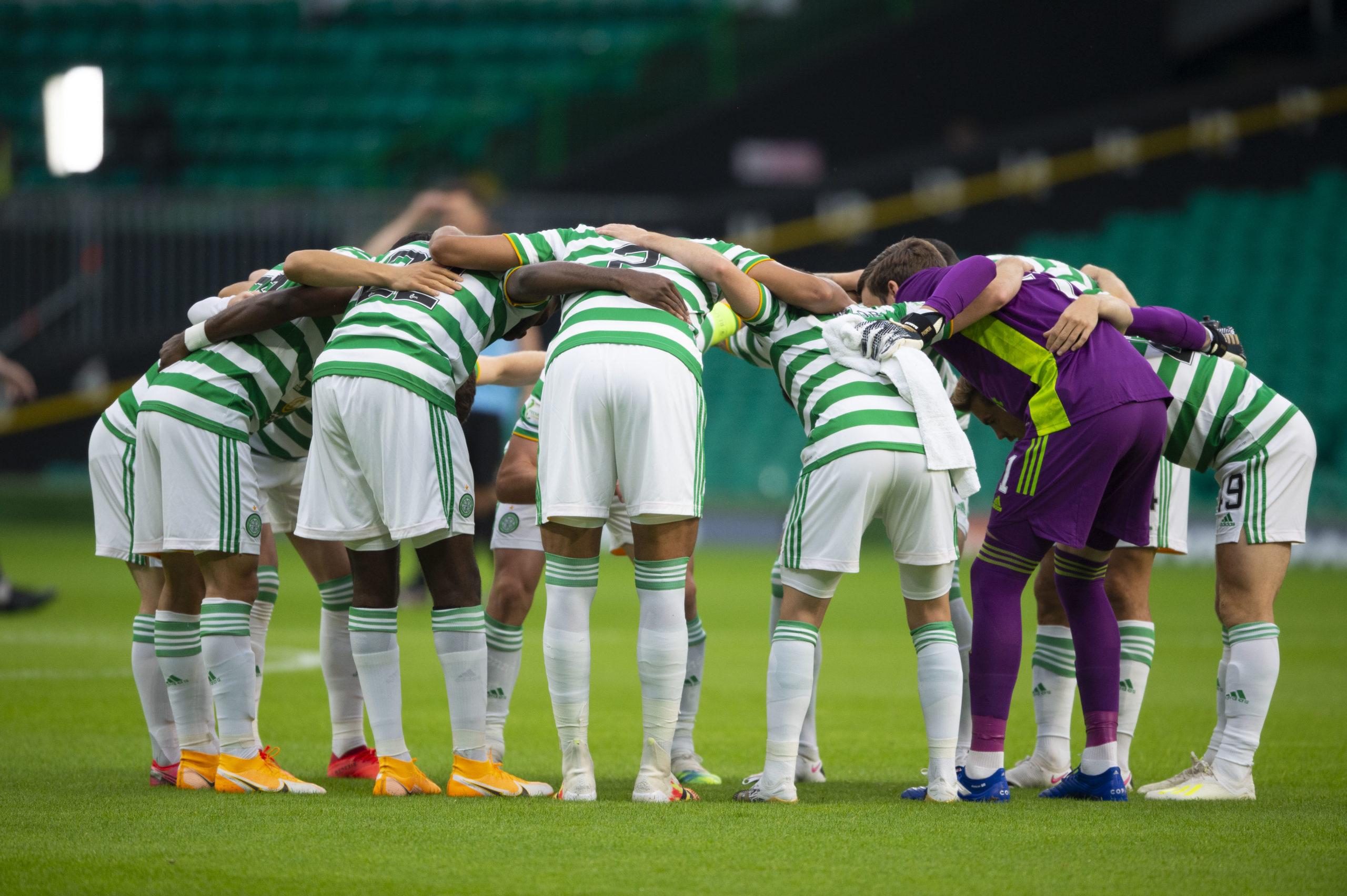 Celtic huddle up before demolishing KR Reykjavic.
