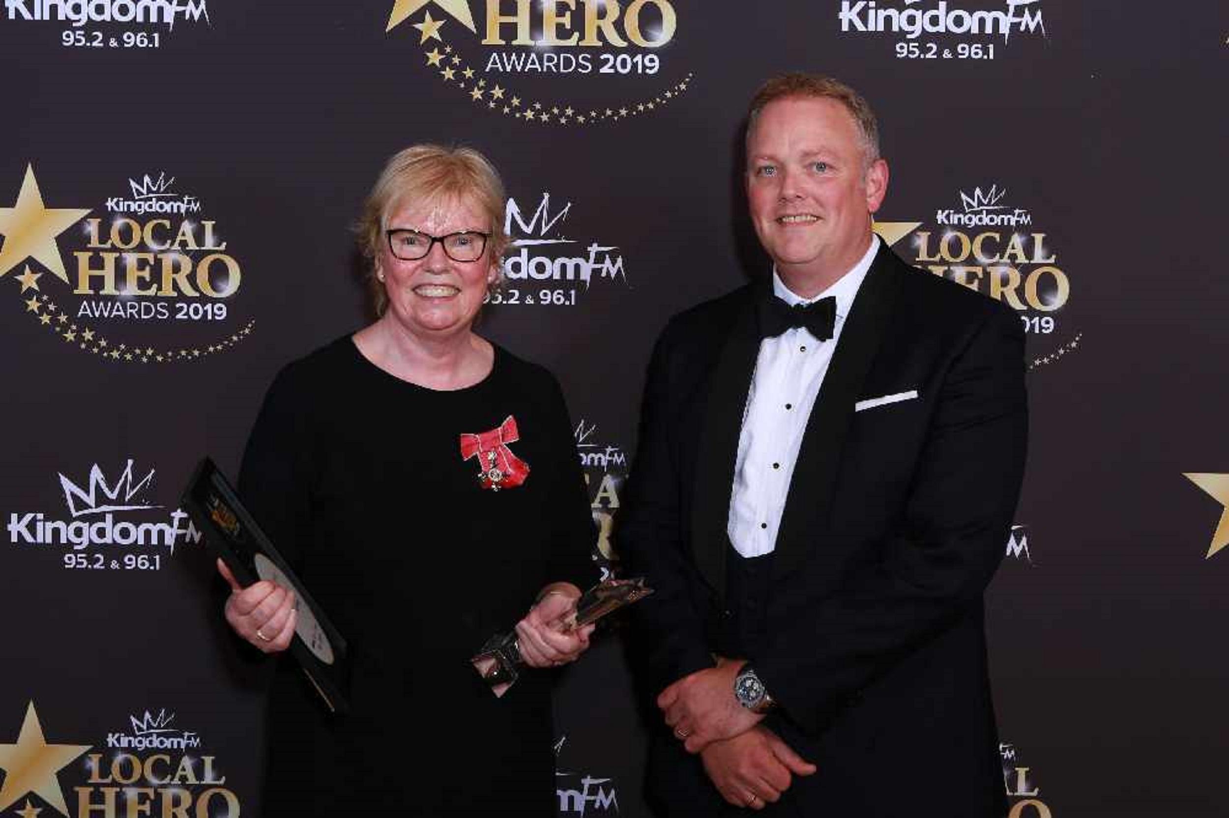 Elaine Wyllie, who won the main Kingdom FM Award last year, with DC Thomson chief executive Mike Watson last year.