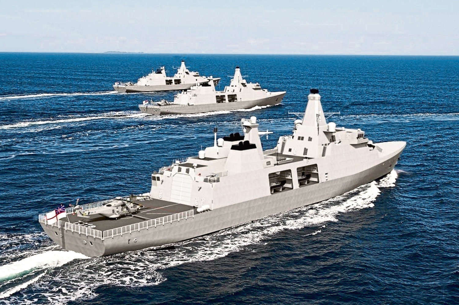 An artists impression of the Arrowhead 140 warship. Engineering giant Babcock has been named the preferred bidder for the £1.3 billion contract to build a new fleet of Royal Navy frigates.
