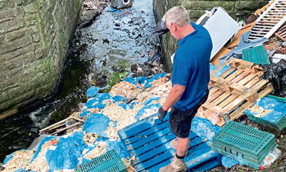 Lanarkshire farmer Davy Shanks faced the disgusting discovery of two tonnes of waste from a meat processing site dumped on his land.  To compound matters, he then had the £2000 bill to clean it up.