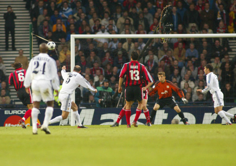 Zidane scores one of the greatest goals in Champions League history at Hampden against Bayer Leverkusen in 2002.
