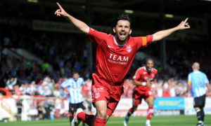 Paul Hartley celebrates his first goal of the afternoon from the penalty spot.