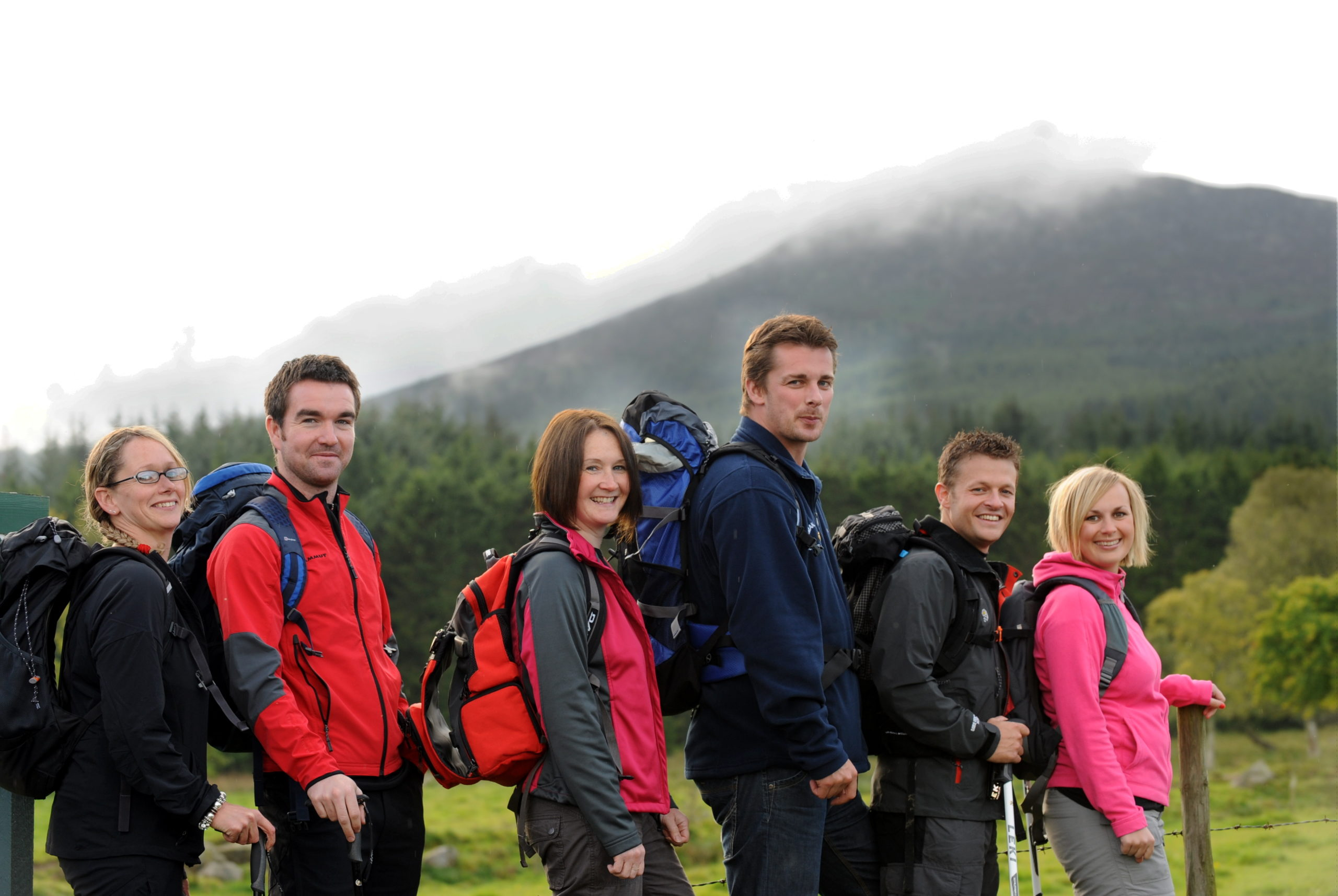 A team of active school coordinators get ready for a climb up Kilimanjaro to help raise funds for the Anchor Unit. In the picture at Bennachie near Inverurie are from left: Susan Mackintosh, Derek Atkinson, Abigail Hay, Stuart Glennie, Roddie Hall and Kerry Massie . Picture by JIM IRVINE        26-8-2010  .