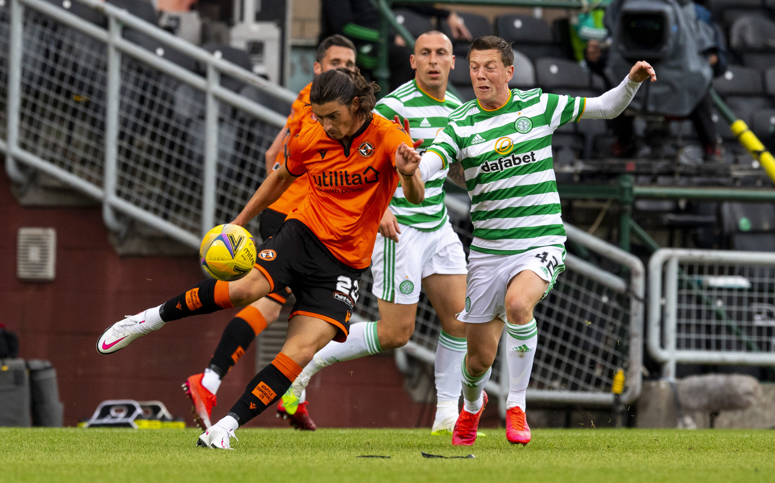 Dundee United's Ian Harkes in action against Celtic.