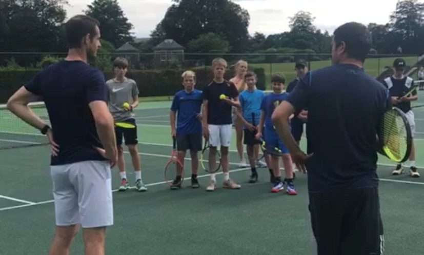 Andy Murray suprises kids at Adam Brown Tennis Academy in Gleneagles