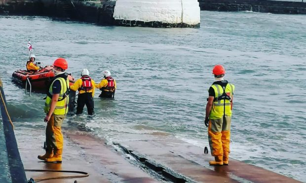 Arbroath ILB returning after the kayaker rescue. Pic: Arbroath RNLI.