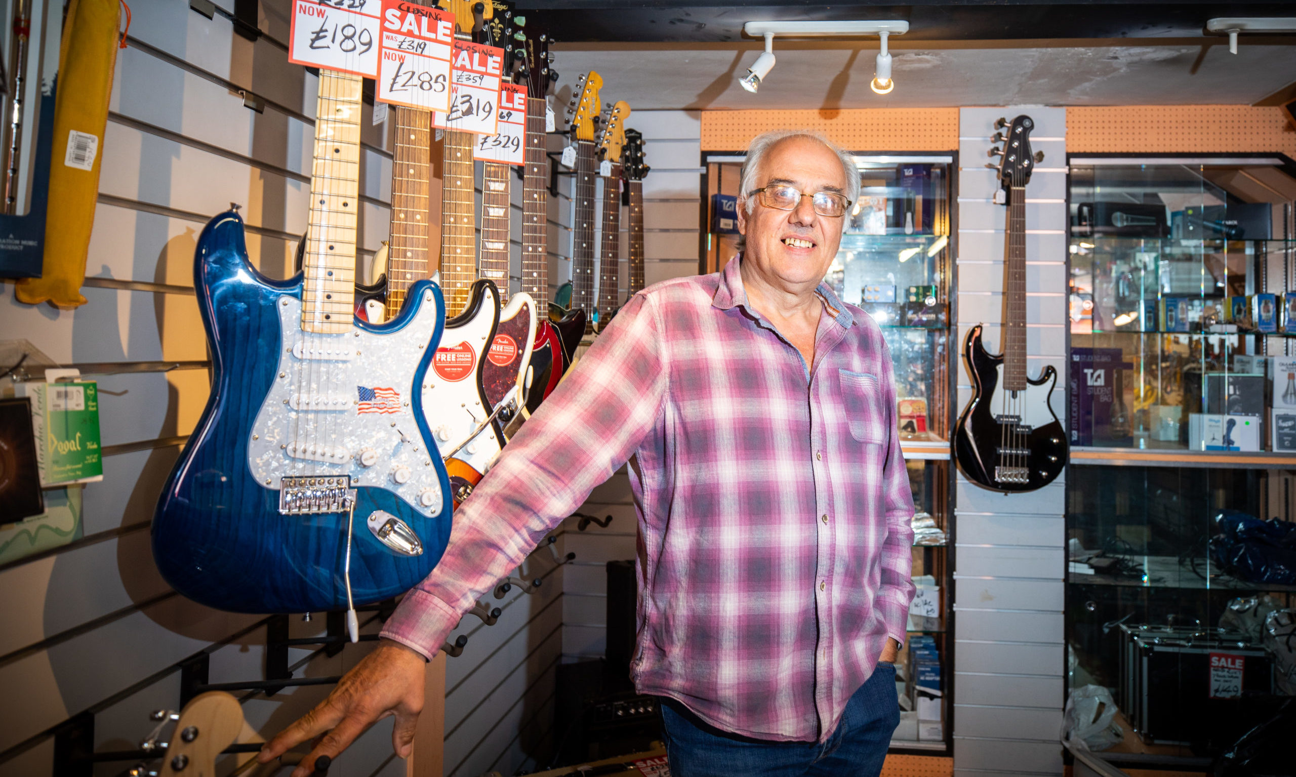 Pete Caban in his Bandwagon Music Shop in Perth