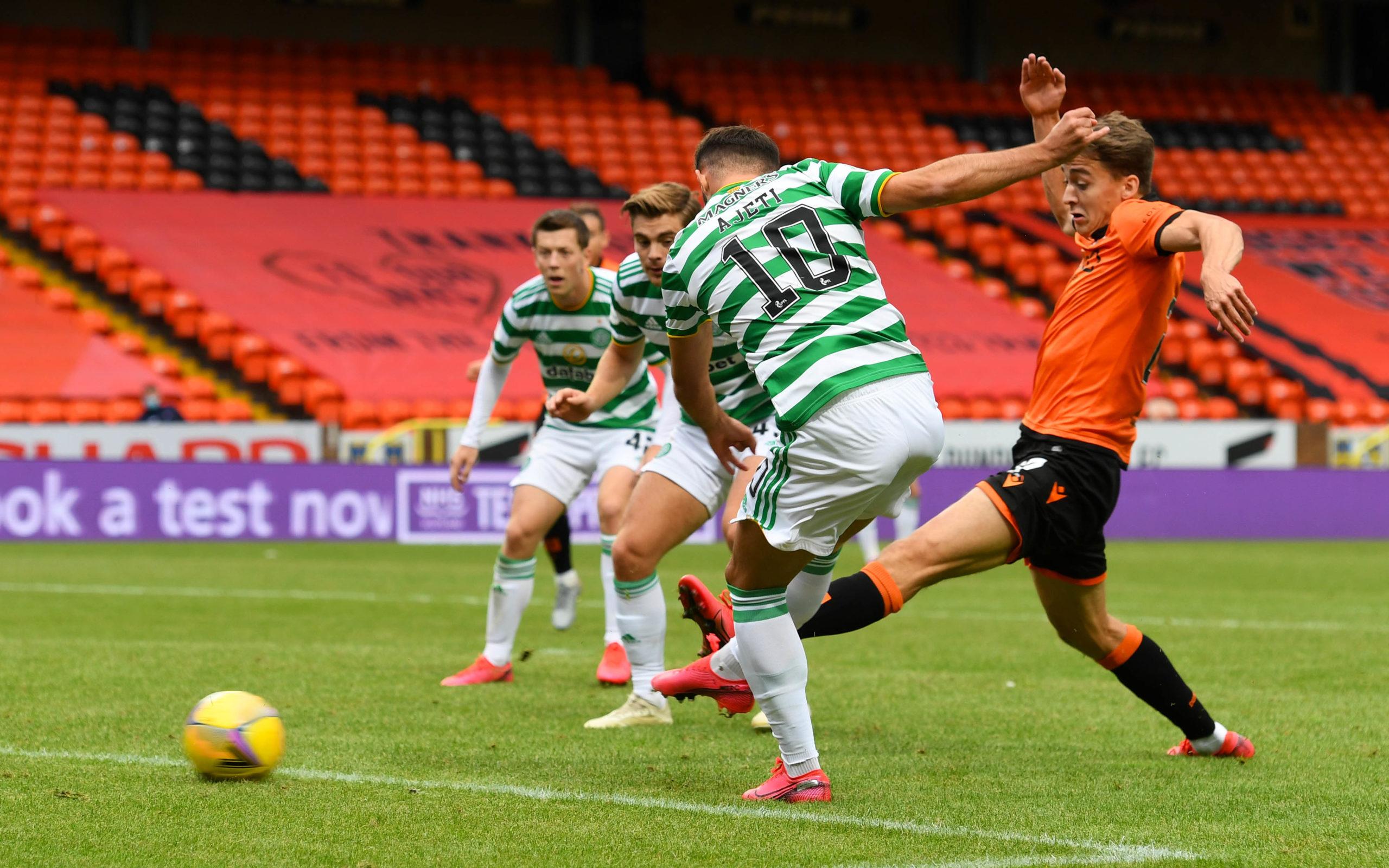 Albian Ajeti nets the winner for Celtic.