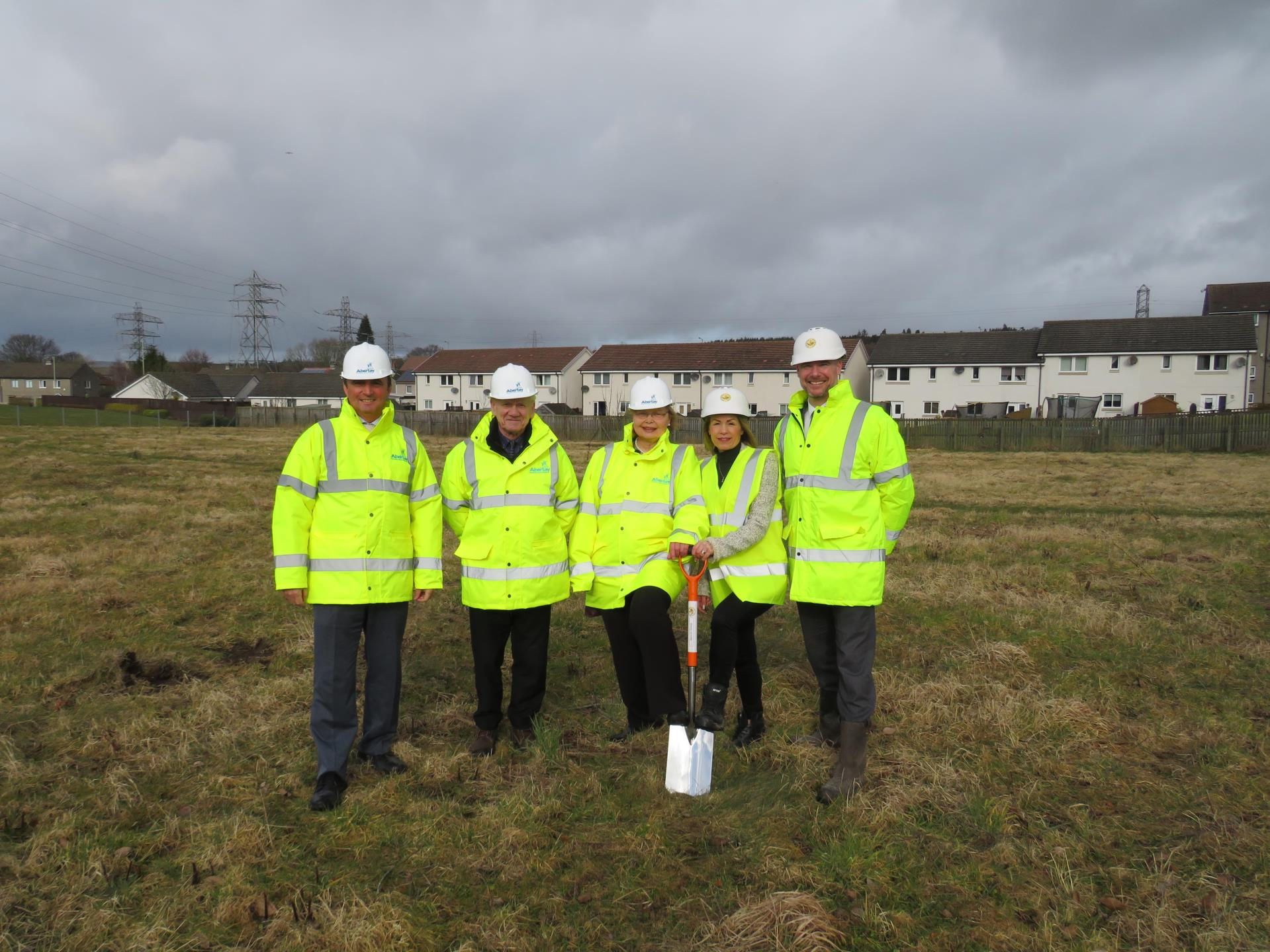 From left: Barry Moore, chief executive of Abertay Housing Association, Ron Neave, vice chairman of AHA, Kath Mands, chairwoman of AHA, Dawn Kane, Business Development Manager and Bid Co-ordinator for Bancon Construction (BC) and Gavin Currie, Managing Director of BC.