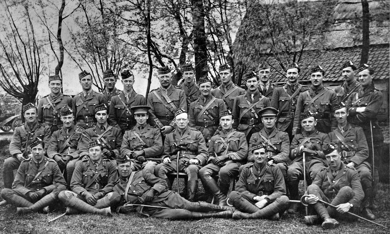 Winston Churchill (centre) as Lieutenant-Colonel, commanding the 6th Battalion.the Royal Scots Fusiliers.Near Ploegstreert, Belgium.