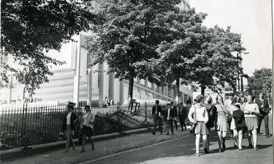 Students walking past Dundee College of Commerce on Constitution Road in September 1969, a few months before it officially opened on May 29 1970.