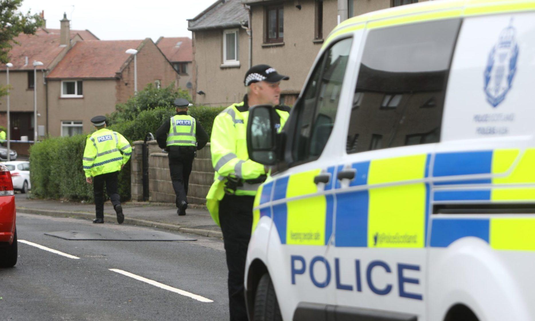 Police at the scene in Arbroath.