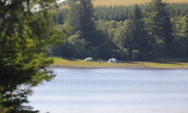 Wild campers at Lintrathen Loch.