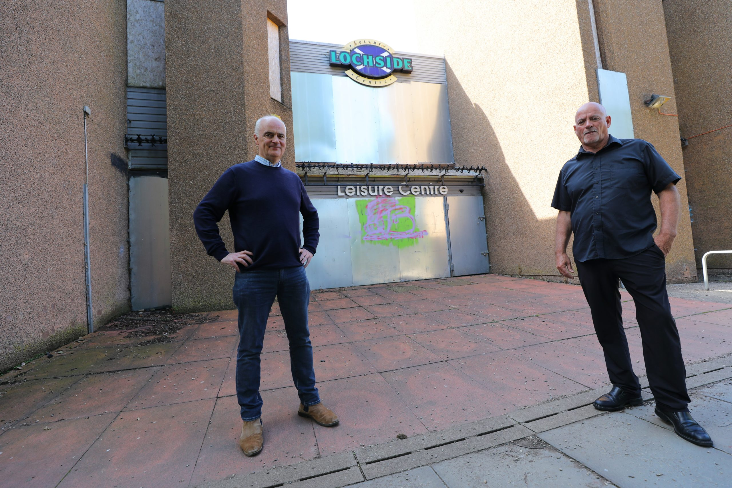 Mark Guild (left) and Donald Stewart have fought to save Lochside Leisure Centre from demolition.