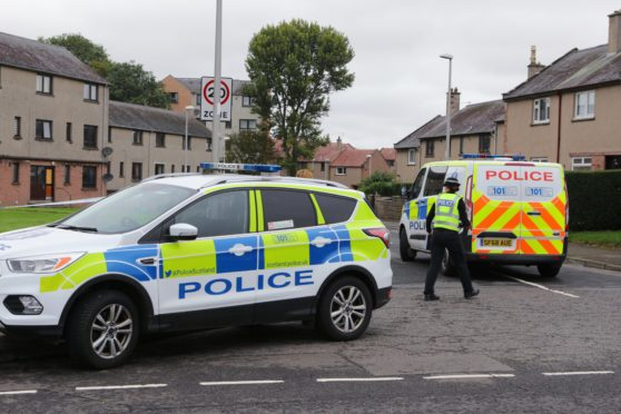 Police activity at the scene of the death in Spitalfield Place, near Newbigging Drive, in Arbroath.