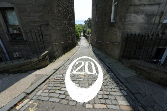 The new 20mph road marking at the top of Strawberrybank in Dundee.