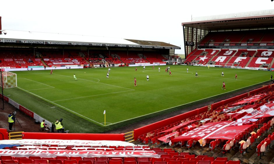 Aberdeen in action at Pittodrie Stadium.